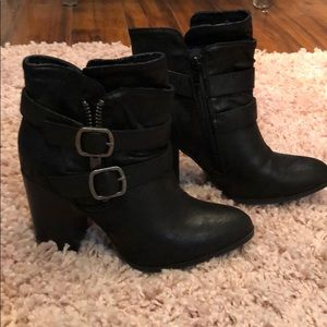 Buckled strap ankle booties